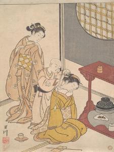 Night Rain at the Double-Shelf Stand, c.1766 by Suzuki Harunobu