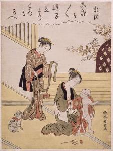 P.312-1941 a Mother Dressing Her Young Son in a Kimono by Suzuki Harunobu