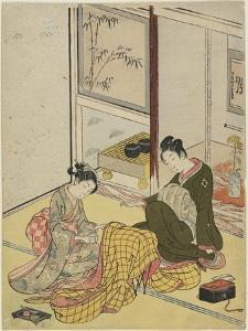 Perfuming a Robe as a Mitate of the Fpur Elegant Pastimes, Autumn 1767 by Suzuki Harunobu