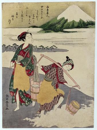 Salt Maidens on the Tago-No-Ura Beach with Mt. Fuji Behind