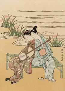 Two Japanese Lovers Play the Shamisen by Suzuki Harunobu