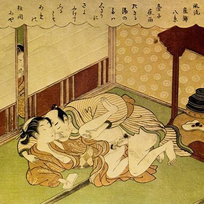 Two Lovers (Shunga - Erotic Woodblock Prin), C. 1750