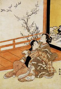 Two Women Seated by a Verandah, One Pointing at Geese in Flight Beyond a Flowering Plum Tree by Suzuki Harunobu