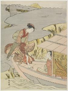 Woman Boarding a Boat, C. 1767 by Suzuki Harunobu