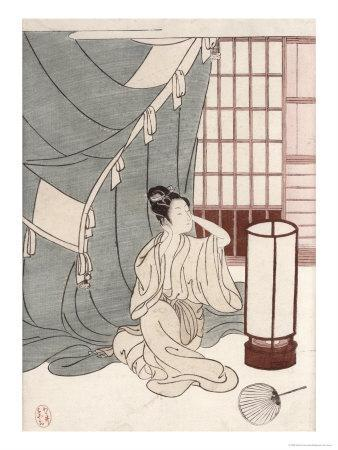 Young Woman Kneeling by Her Mosquito Net, 1766