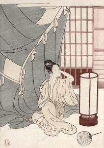 Young Woman Kneeling by Her Mosquito Net, 1766 by Suzuki Harunobu