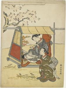 Young Woman Viewing Cherry Blossoms as a Mitate of Lady Nakanokimi, C. 1767 by Suzuki Harunobu