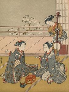 'Young Women Playing Kitsune-ken', c1768 by Suzuki Harunobu