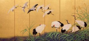 Six-Fold Screen Depicting Reeds and Cranes, Edo Period, Japanese, 19th Century by Suzuki Kiitsu
