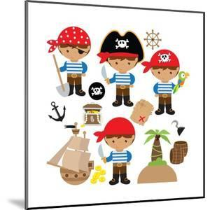 Pirate,Boy,Pirate Ship, Treasure Chest, Island, Palm Tree, Map, Skull, Jolly Roger, Parrot by Svetlana Peskin