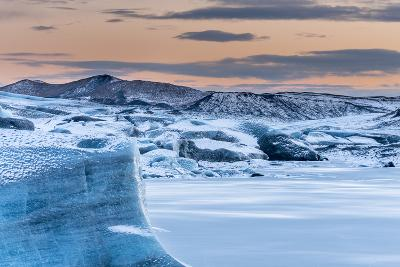 Svinafellsjoekull Glacier in Vatnajokull During Winter. Glacier Front and the Frozen Glacial Lake-Martin Zwick-Photographic Print