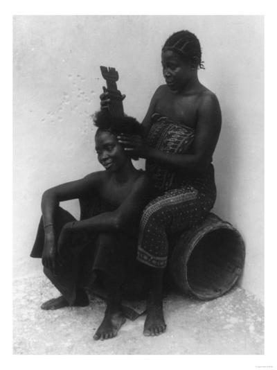 Swahili Woman Fixing Another Woman's Hair Photograph - East Africa-Lantern Press-Art Print