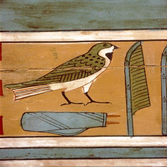 Swallow detail, Egyptian hieroglyphic on inner wall of coffin, c2000 BC-Unknown-Giclee Print