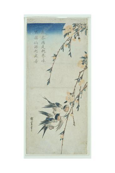 Swallows and Peach Blossom in Moonlight-Ando Hiroshige-Giclee Print