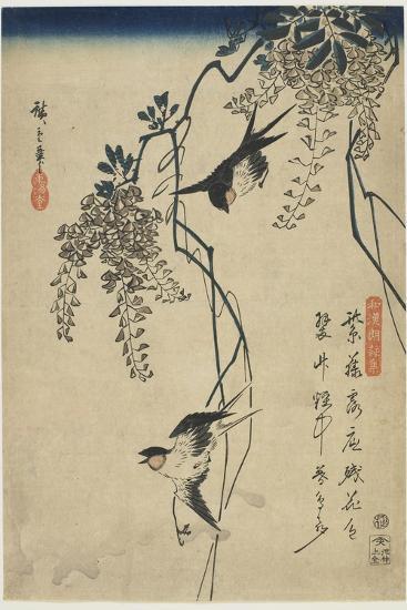 Swallows Flying Through Wisteria Vines, 1837-1844-Utagawa Hiroshige-Giclee Print