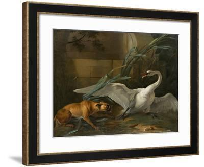Swan Attacked by a Dog, 1745-Jean-Baptiste Oudry-Framed Giclee Print