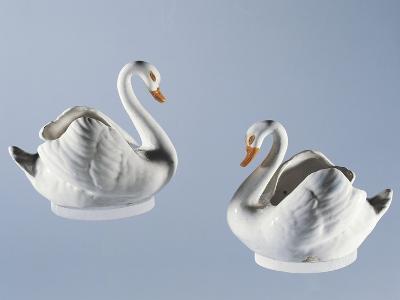Swan-Shaped Twin Gravy Boats, Majolica--Giclee Print