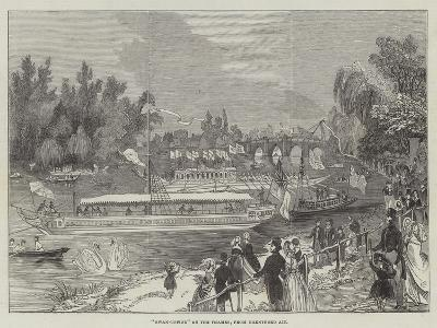Swan-Upping on the Thames, from Brentford Ait--Giclee Print