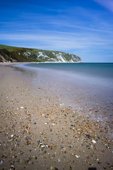Swanage Beach and White Cliffs, Dorset, England, United Kingdom, Europe-Matthew Williams-Ellis-Photographic Print