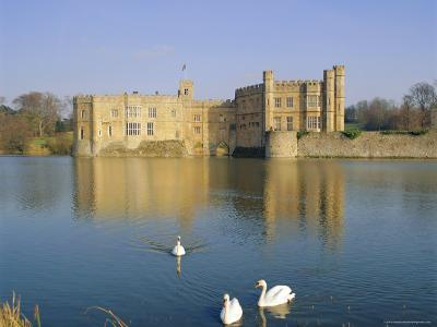 Swans in Front of Leeds Castle, Kent, England-G Richardson-Photographic Print