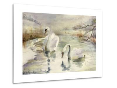 Swans in Winter-Karen Armitage-Metal Print