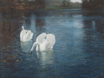 Swans on the River, C.1880-Fritz Thaulow-Giclee Print