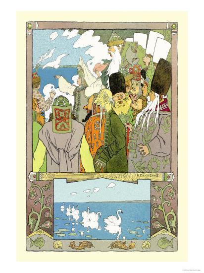 Swans-Ivan Bilibin-Art Print