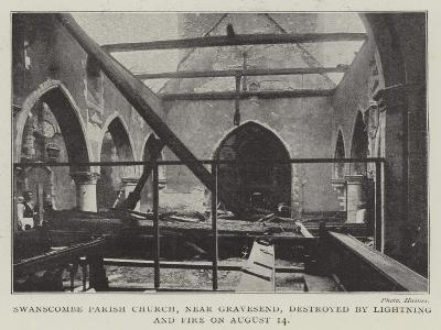 Swanscombe Parish Church, Near Gravesend, Destroyed by Lightning and Fire on 14 August--Giclee Print