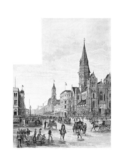 Swanston Street Looking North, Melbourne, Victoria, Australia, 1886-Johnson-Giclee Print
