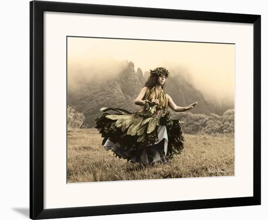 Swaying Skirt, Hawaiian Hula Dancer-Alan Houghton-Framed Art Print