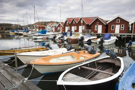 Sweden, BohuslŠn, Fishing Settlement RšnnŠng, Harbour, Boats, Houses-Frank Lukasseck-Photographic Print