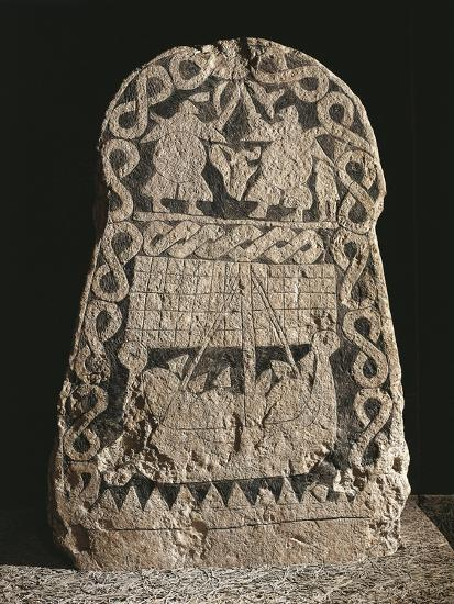 Sweden, Runestone Depicting Two Warriors Fighting and the Journey of the Vikings to the Valhalla--Giclee Print
