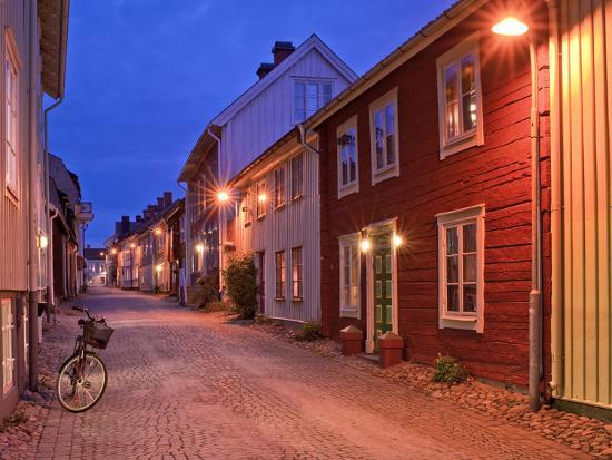 Sweden, Smaland, Old Town with Typical Wooden Houses in Eksjo, Old Towngasse-K. Schlierbach-Photographic Print