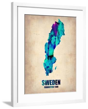 Sweden Watercolor Poster-NaxArt-Framed Art Print