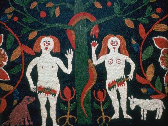 Swedish embroidery of Adam, Eve, and the serpent, 19th century. Artist: Unknown-Unknown-Giclee Print