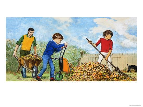 Sweeping Up Autumn Leaves-Clive Uptton-Giclee Print