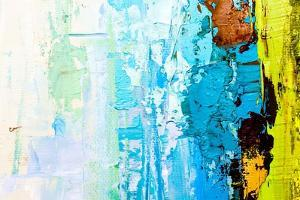 Abstract Art Background. Oil Painting on Canvas. Color Texture. Fragment of Artwork. Spots of Oil P by Sweet Art