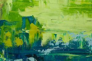 Abstract Art Background. Oil Painting on Canvas. Green and Yellow Texture. Fragment of Artwork. Spo by Sweet Art