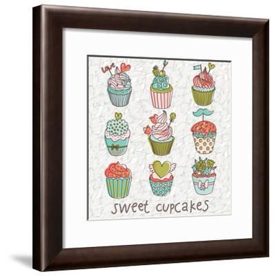 Sweet Cupcakes in Vintage Vector Set. Cartoon Tasty Cupcakes in Bright Colors-smilewithjul-Framed Art Print