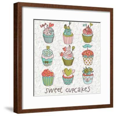 Sweet Cupcakes in Vintage Vector Set. Cartoon Tasty Cupcakes in Bright Colors-smilewithjul-Framed Art Print