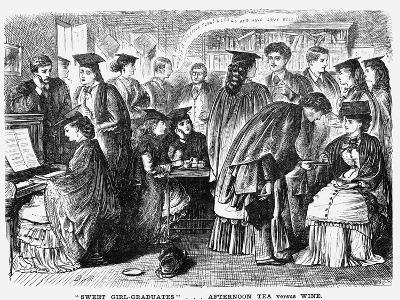 Sweet Girl-Graduates...'Afternoon Tea Versus Wine, 1872-Joseph Swain-Giclee Print