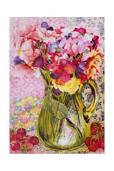 Sweet Peas with Cherries and Strawberries-Joan Thewsey-Giclee Print
