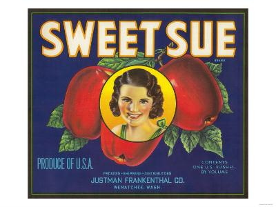 Sweet Sue Apple Label - Wenatchee, WA-Lantern Press-Art Print