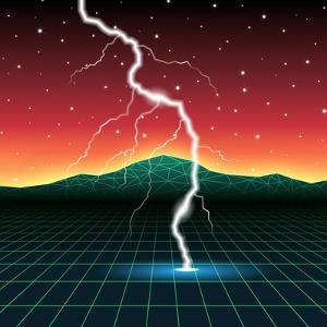 Neon New Retro Wave Landscape with Lightning by Swill Klitch
