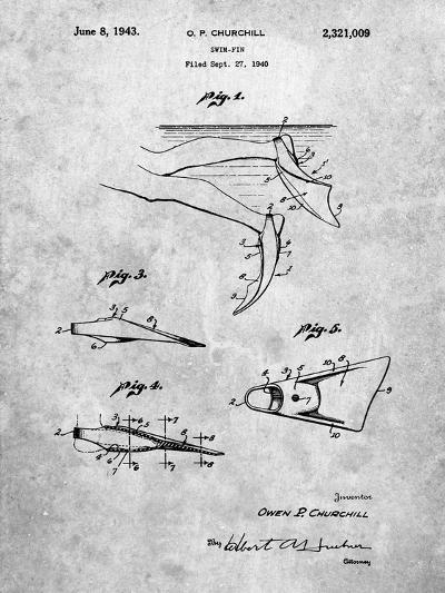 Swim Fins Patent-Cole Borders-Art Print