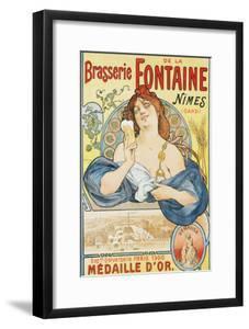 Brasserie De La Fontaine Poster by Artigue by swim ink 2 llc