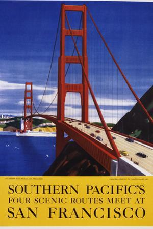 Southern Pacific's Four Scenic Routes Meet at San Francisco Travel Poster by swim ink 2 llc