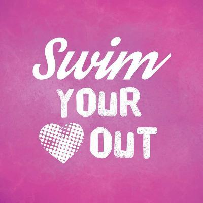 Swim Your Heart Out - Pink Vintage-Sports Mania-Art Print