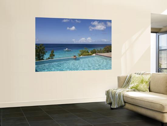 Swimmer in Infinity Pool at Habitat Curacao Dive Resort Near St. Willibrordus-Holger Leue-Giant Art Print