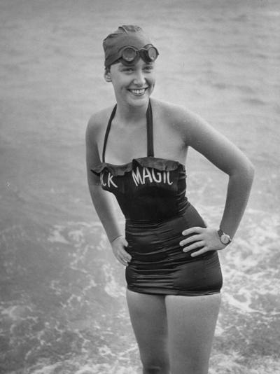 "Swimmer Shirley May France, Standing in the Ocean Wearing Her ""Black Magic"" Swimsuit--Photographic Print"